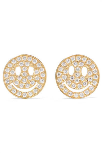 Sydney Evan - Happy Face 14-karat Gold Diamond Earrings