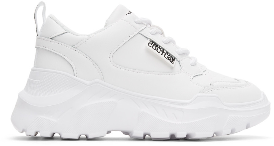 Versace Jeans Couture White Speedtrack Sneakers in bianco