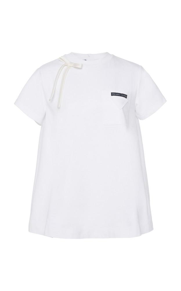 Prada Embellished Cotton-Jersey T-Shirt Size: 38 in white