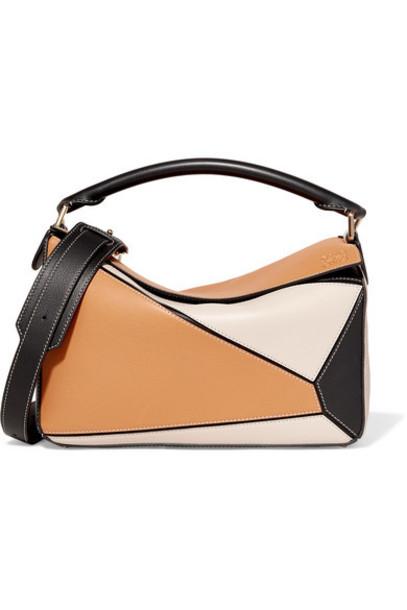 Loewe - Puzzle Small Color-block Textured-leather Shoulder Bag - Mushroom