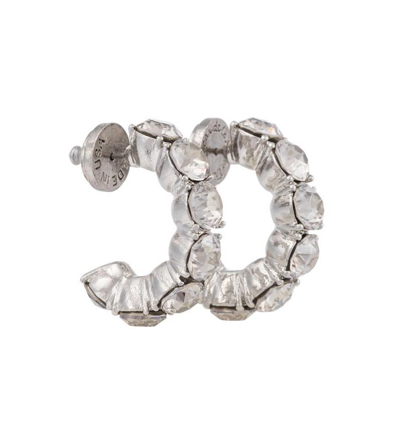 Oscar de la Renta Embellished hoop earrings in silver