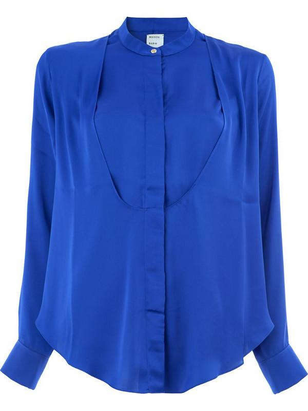 Maison Rabih Kayrouz crepe collarless blouse in blue