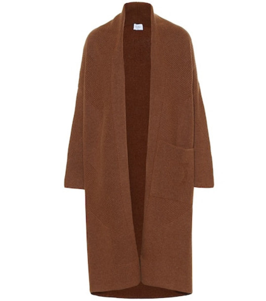 Salvatore Ferragamo Wool and cashmere knit coat in brown