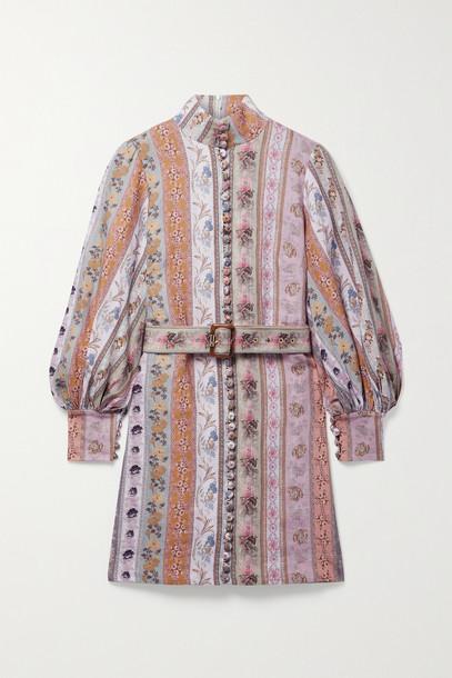 ZIMMERMANN - Luminous Belted Floral-print Linen Mini Dress - Neutrals
