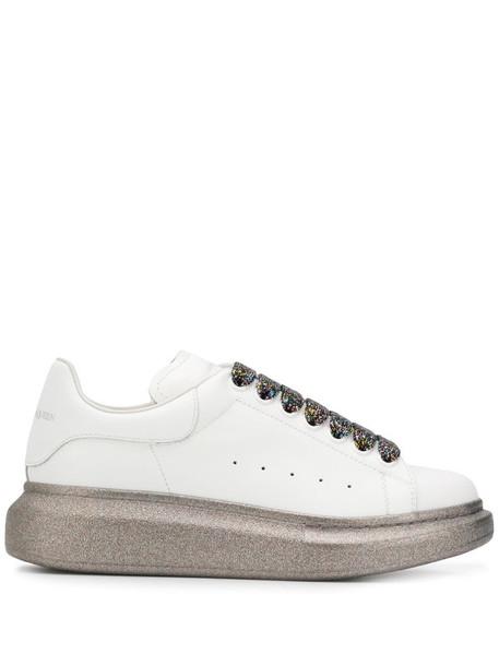 Alexander McQueen Oversized glitter detail low-top sneakers in white