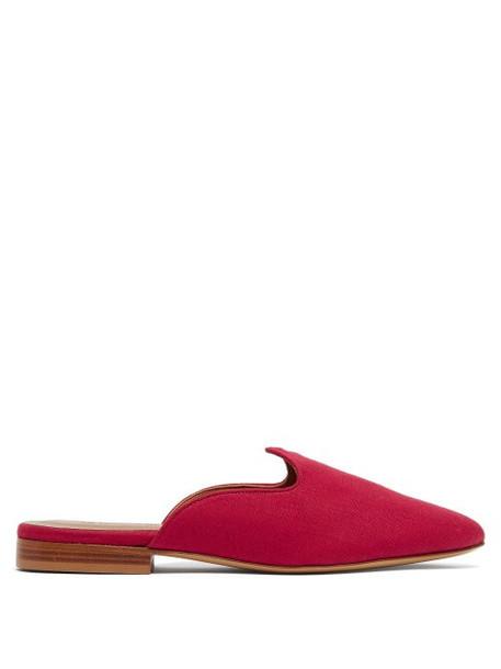 Le Monde Beryl - Venetian Backless Linen Loafers - Womens - Red