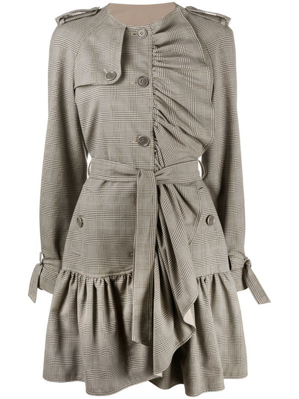 Boutique Moschino ruffled button-front coat in neutrals