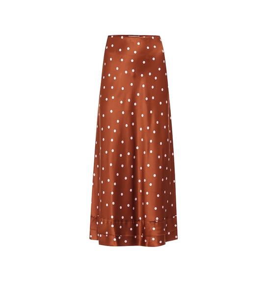 Lee Mathews Talulah polka-dot silk-satin skirt in brown