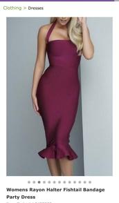 dress,midi dress,halter strap dress,berry