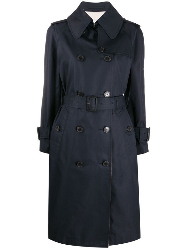 Mackintosh check-print double-breasted trench in blue