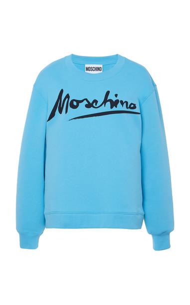 Moschino Logo-Printed Cotton Fleece Sweatshirt Size: 38 in blue