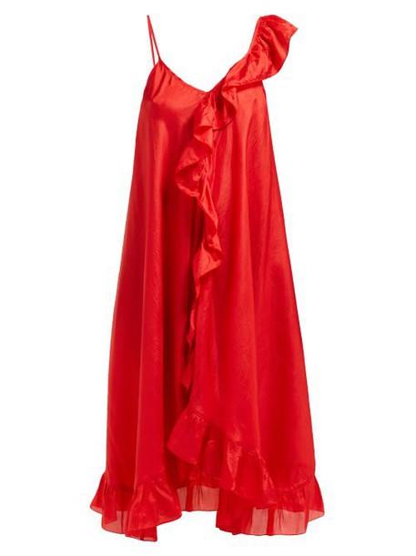 Mes Demoiselles - Noemi Asymmetric Silk Dress - Womens - Red
