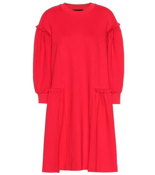 Simone Rocha Ruffled jersey dress in red