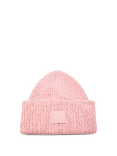 Acne Studios - Pansy Ribbed-knit Wool Beanie Hat - Womens - Light Pink
