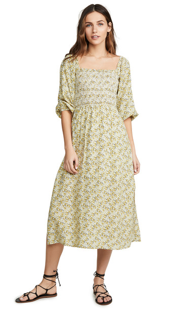 WAYF Nevah Smocked Midi Dress in yellow