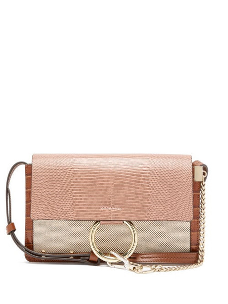 Chloé Chloé - Faye Small Lizard-embossed Leather Shoulder Bag - Womens - Pink Multi
