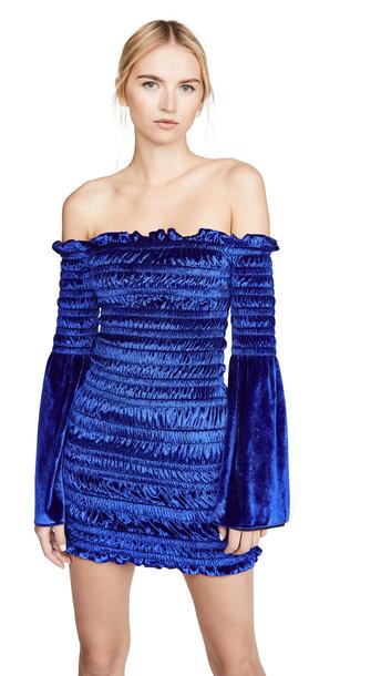Area Fluid Velvet Ruched Dress in blue