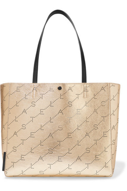 Stella McCartney - Net Sustain Perforated Metallic Faux Leather Tote - Gold