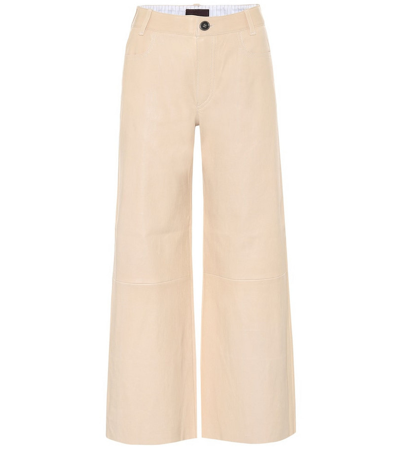 Stouls Lilou cropped leather pants in beige