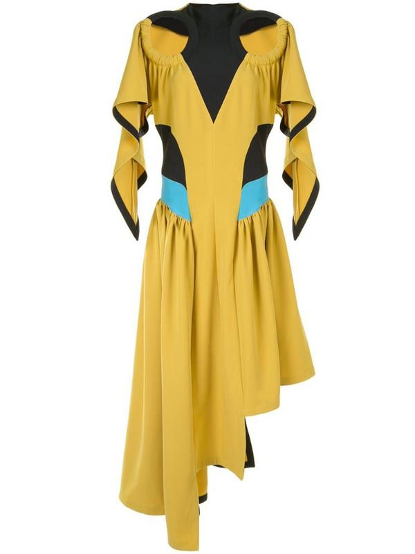 Kiko Kostadinov asymmetric cut-out dress in yellow