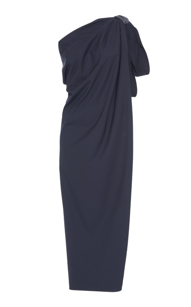 Max Mara Eracle One-Shoulder Cotton-Poplin Dress in navy