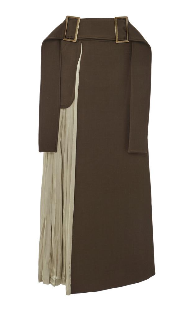 Rejina Pyo Evie Voile-Paneled Wool-Blend Maxi Skirt in brown