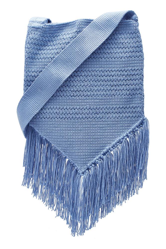 Soraya Hennessy Midi Fringe Boho Crochet Shoulder Bag  in blue