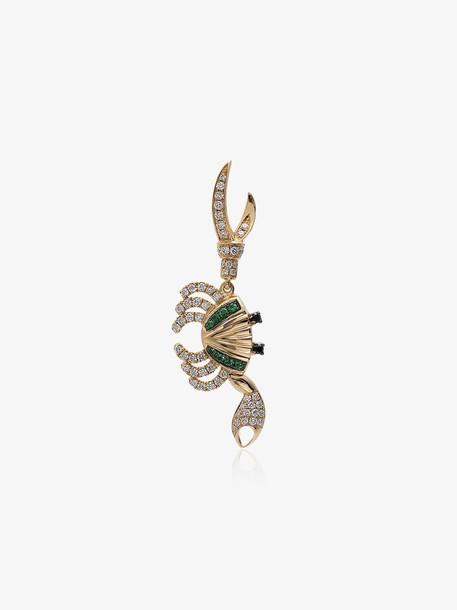 Yvonne Léon 18K yellow gold diamond and tsavorite crab single earring