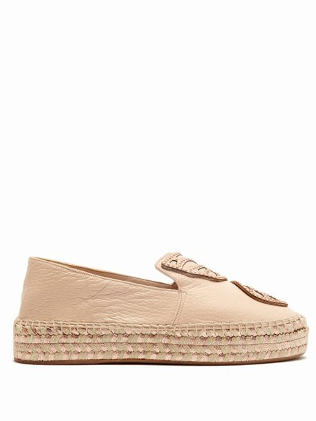 Sophia Webster - Bibi Butterfly Leather Flatform Espadrilles - Womens - Tan Gold