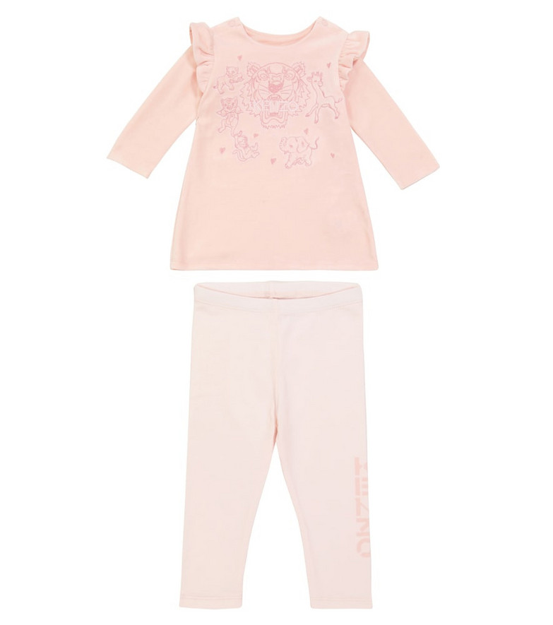 KENZO Kids Baby sweater and pants cotton-blend set in pink