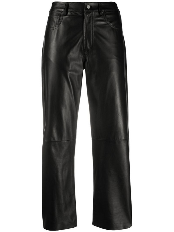 Drome cropped leather trousers in black