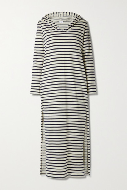 Pour Les Femmes - Hooded Striped Cotton-blend Jersey Nightdress - Navy