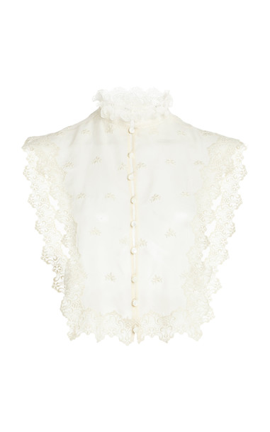 Paco Rabanne Frilled Lace Top in white