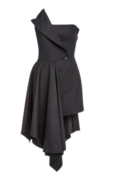 MONSE Strapless Wool-Blend Mini Dress Size: 0 in black