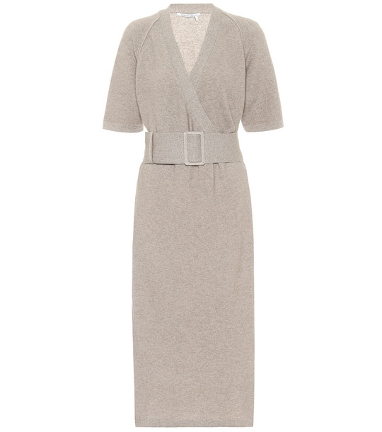 Agnona Cashmere and cotton-blend knit dress in grey