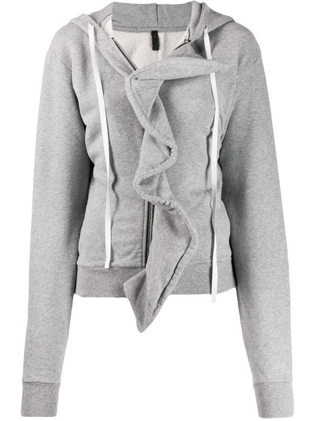 UNRAVEL PROJECT ruffle trim hoodie in grey