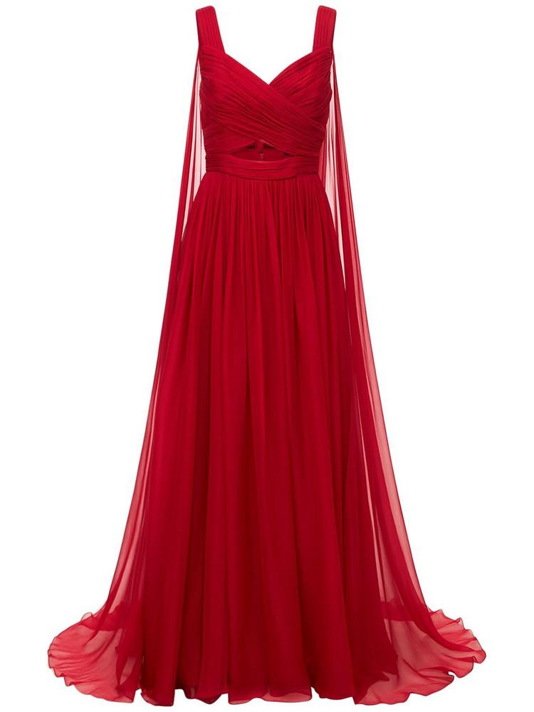 ZUHAIR MURAD Silk Chiffon Cut Out Long Dress in red