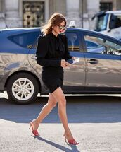 dress,black dress,mini dress,long sleeve dress,sandal heels
