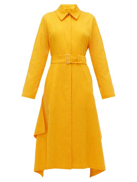 Joseph - Cassie Waterfall-panel Belted Shantung Overcoat - Womens - Orange