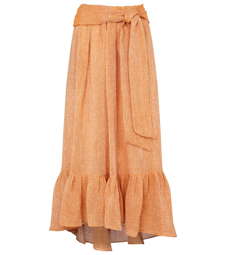 Lisa Marie Fernandez Nicole linen-blend gauze midi skirt in orange