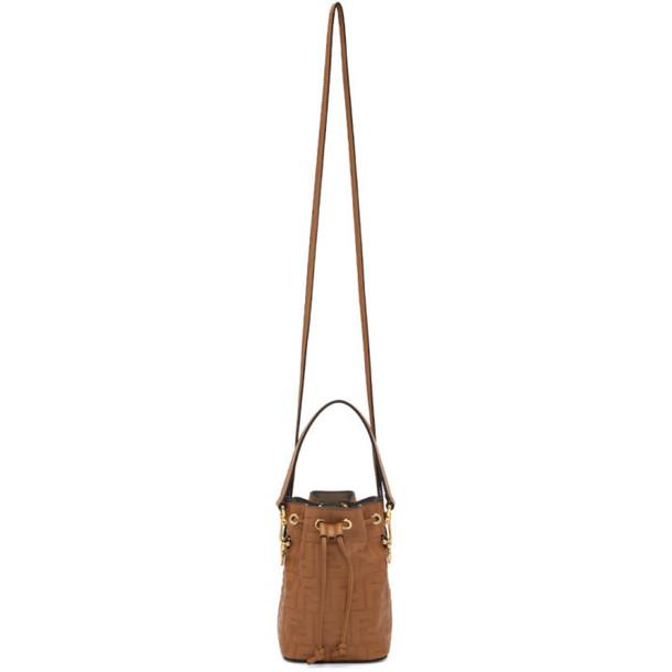 Fendi Tan Embossed Mini Mon Tresor Bag