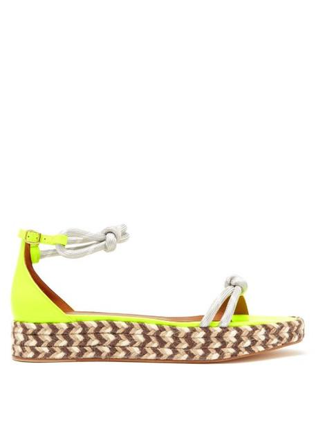 Malone Souliers - Simona Leather & Jute Espadrille Sandals - Womens - Yellow Multi