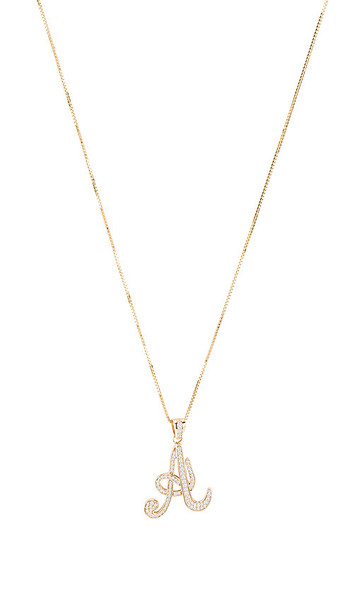 The M Jewelers NY The Iced Out Script Initial A Necklace in Metallic Gold