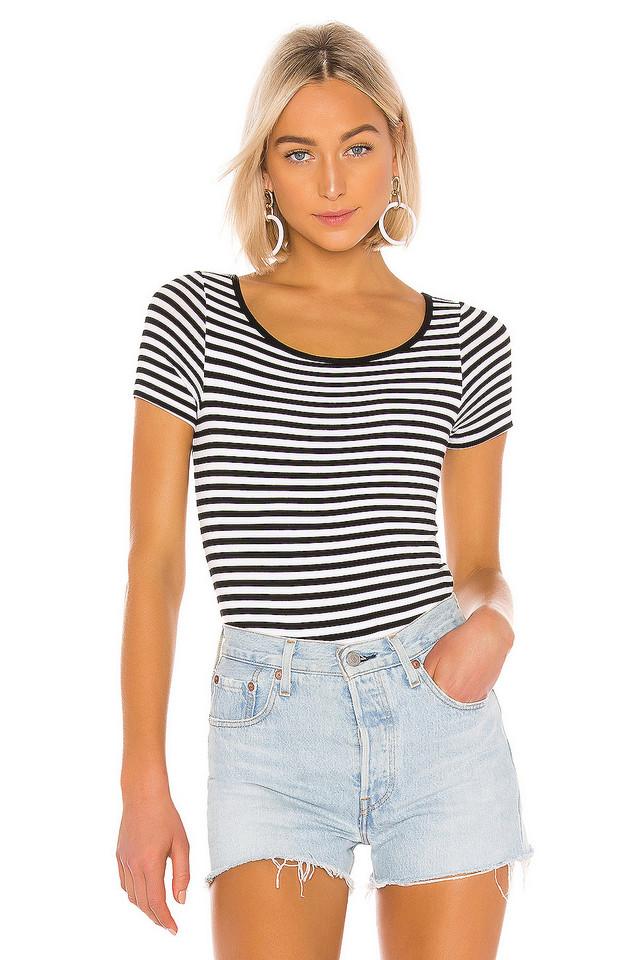 Enza Costa Short Sleeve Scoop Bodysuit in black / white