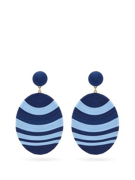 Maryjane Claverol - Newton Hand Wrapped Cording Clip Earrings - Womens - Blue