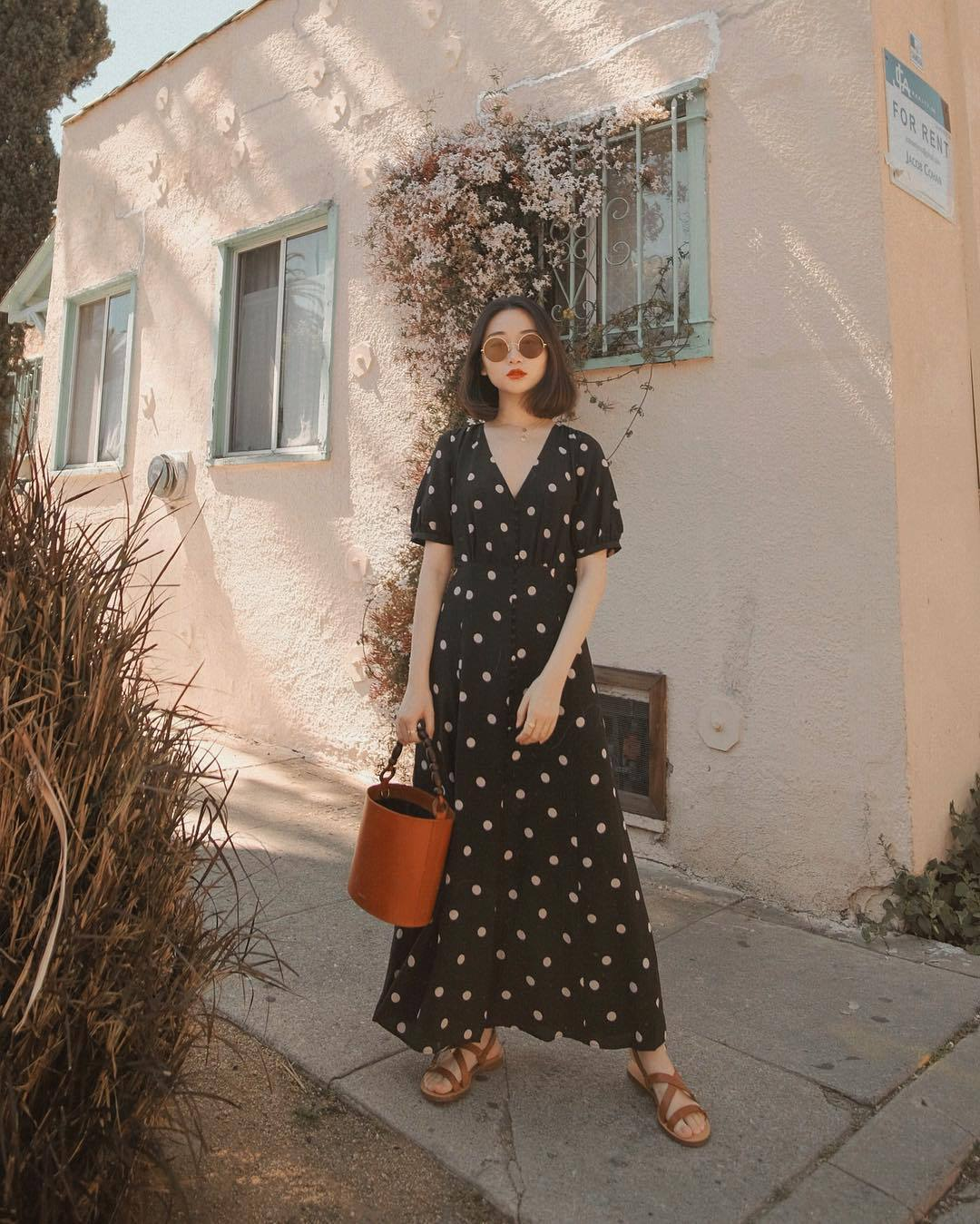 dress black dress maxi dress polka dots flat sandals brown bag bucket bag
