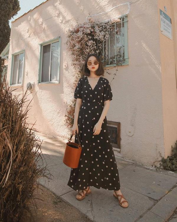 dress black dress maxi dress polka dots flat sandals brown bag bucket bag