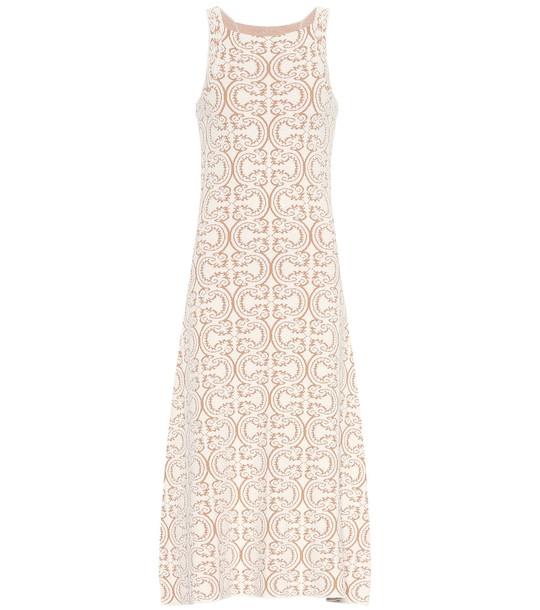 Jil Sander Cotton-blend knit dress in beige