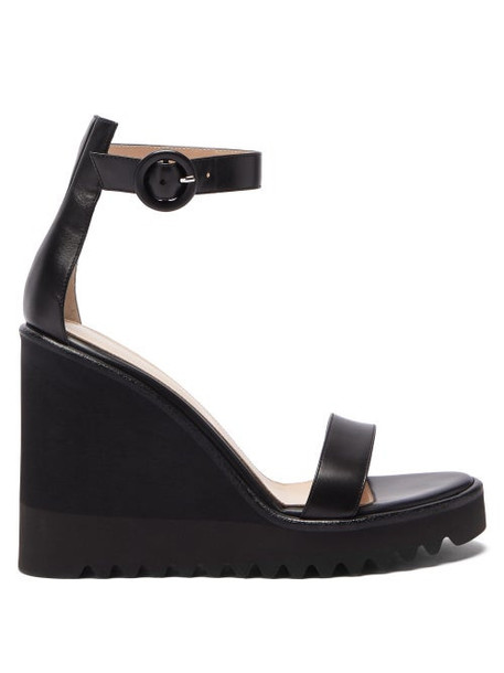 Gianvito Rossi - Scalloped Sole Leather Wedge Sandals - Womens - Black