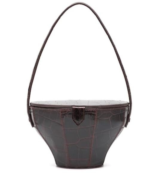 Staud Alice embossed leather shoulder bag in brown